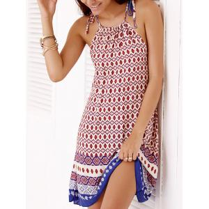 Bohemian Spaghetti Strap Full Print Summer Dress For Women - BLUE AND RED ONE SIZE(FIT SIZE XS TO M)