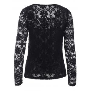Trendy Long Sleeve Floral Embroidered Translucent Lace Blouse -