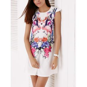 Colorful Crane and Floral Printed Straight Dress For Women -
