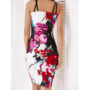 Trendy Sleeveless Floral Print Hollow Out Skinny Dress - COLORMIX L