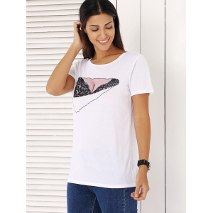 Trendy Short Sleeve Lace Print Women's T-Shirt -