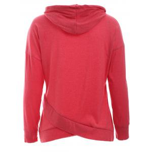 Trendy Long Sleeve Pure Color Slant Spliced Hoodie -