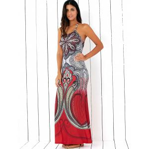 Halterneck Backless Tribal Pattern Dress -