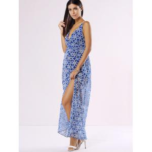 Floral Backless Plunge Maxi Slip Summer Dress - BLUE XL
