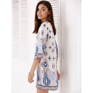 Scoop Neck Floral Print Hollow Out Dress For Women -