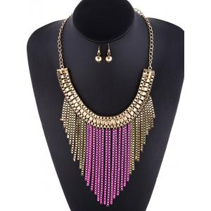 A Suit of Irregular Fringed Chain Necklace and Earrings -