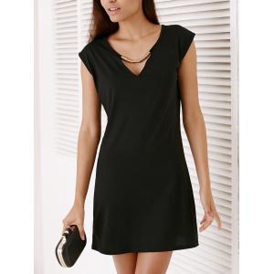 Short Sleeve Hollow Out Short Party Dress - BLACK XL