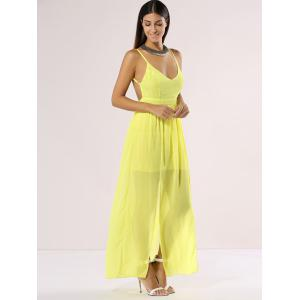 Chiffon Maxi Plunge Backless Summer Slip Dress -