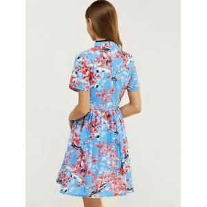 Ladylike Mandarin Collar Flower Print Fit and Flare Dress -