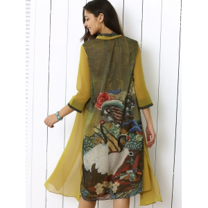Retro Print 3/4 Sleeve Button Smock Dress - COLORMIX XL