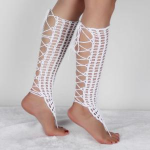 Pair of Graceful Hollowed Crochet Anklets For Women -