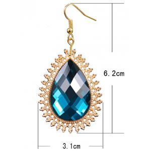 Pair of Water Drop Faux Sapphire Filigree Earrings -