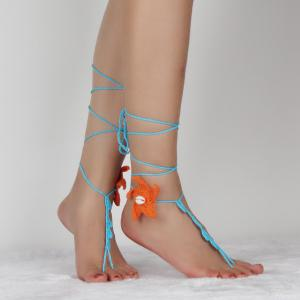 Handmade Starfish Crochet Anklets For Women - LAKE BLUE