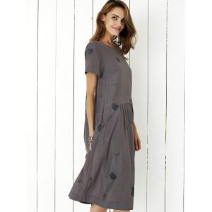 Simple Drop Waist Print Loose Midi Dress -
