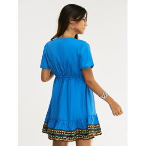 Ethnic Style Slimming Plunging Neck Low-Cut Dress For Women - SAPPHIRE BLUE XL