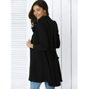 Elegant Belted Sing-Breasted  Flounced Dovetail Coat -