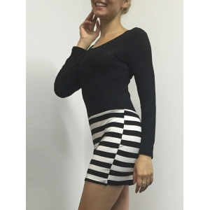 Striped Bodycon Long Sleeve Dress -