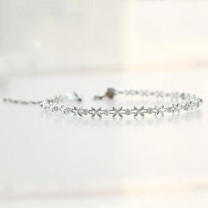 Delicate Silver Plated Rhinestone Floral Choker For Women -
