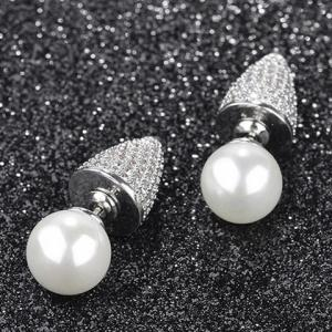 Pair of Punk Style Faux Pearl Double-end Rhinestone Cone Earrings -