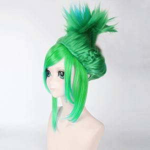 League of Legends LOLArcade Riven Fluffy Blue Highlight Straight Cosplay Wig - GREEN
