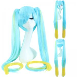 League of Legends LOLSonaExtra Long With Bunches Blue Ombre Yellow Cosplay Wig -