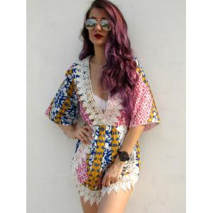 Plunging Neck Tribal Pattern Laciness Romper -