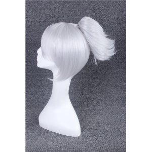 League of Legends LOL	Classic Riven Silvery White Straight With Short Ponytail Cosplay Wig -