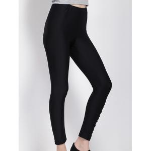 High Waist Letter Print Black Leggings -