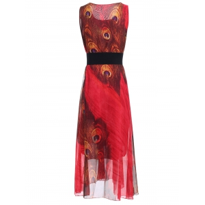Sleeveless Peacock Feather Print Chiffon Maxi Dress With Belt -