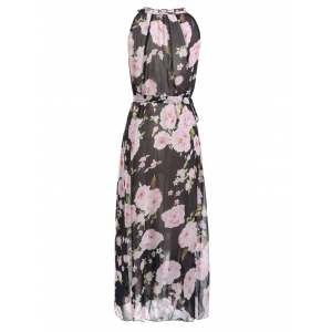 Sleeveless Floral Print Ruffle Neck Chiffon Maxi Dress -
