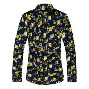 Long Sleeve Turn-Down Collar Printed Sport Shirt -