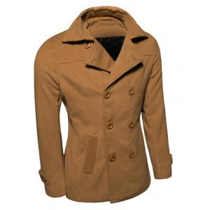 Turn-down Collar Long Sleeve Woolen Blend Peacoat -