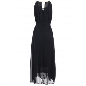 Chain Keyhole Collar Chiffon Maxi Dress -