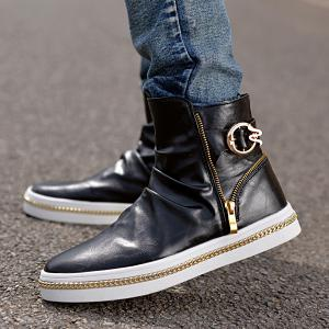 Casual Metal and Zip Closure Design Boots For Men - BLACK 44