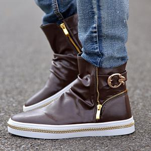 Casual Metal and Zip Closure Design Boots For Men - COFFEE 44