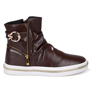 Casual Metal and Zip Closure Design Boots For Men - COFFEE 42