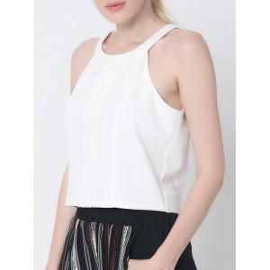 Stylish Back Cut Out Lace Spliced Tank Top -