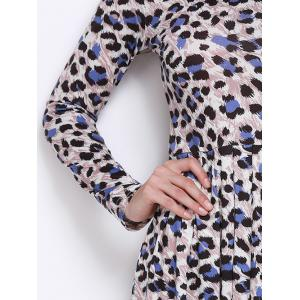 Long Sleeves Leopard Print Pleated Dress -