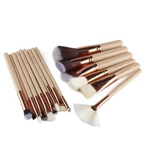 15 Pcs Nylon Facial Eye Lip Makeup Brushes Set - COMPLEXION