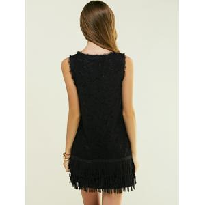 Sleeveless Fringed Skinny Dress - BLACK L
