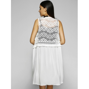 Loose-Fitting Scoop Neck Sleeveless Blouse - WHITE L