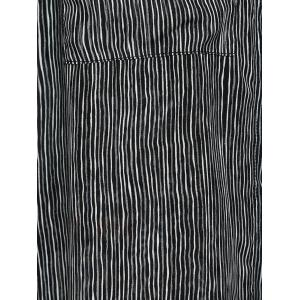 Simple Design Slimming Scoop Neck Pinstripe Print Blouse For Women - BLACK S