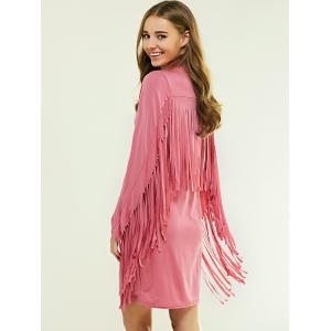 Cowl Neck Long Sleeve Fringed Flapper Dress - PINK M