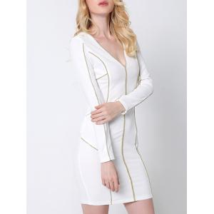 Plunge Long Sleeve Fitted Tight Sheath Dress - WHITE XL