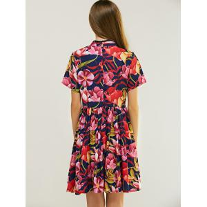 Ladylike Mandarin Collar Floral Print Fit and Flare Dress -