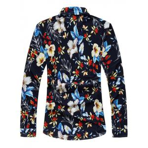 Turndown Collar Long Sleeve Floral Hawaiian Shirt - COLORMIX 6XL