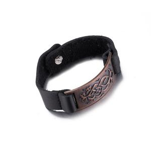 Punk Etched Rectangle Faux Leather Bracelet - RED BROWN