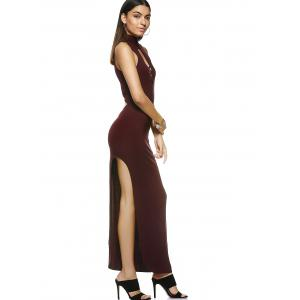 Fashionable Slimming Turtle Neck Low-Cut Maxi Dress For Women -