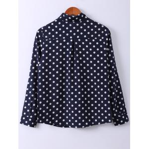 Shirt Collar Polka Dot Print Long Sleeve Shirt -