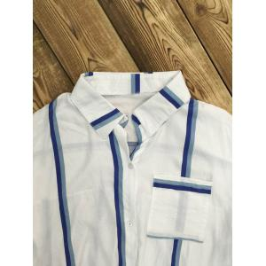 Long Sleeve Striped Front Tie Shirt -